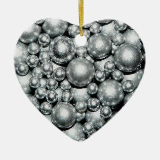 Shiny Silver Metal Beads Ceramic Ornament