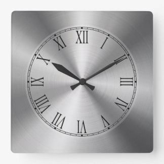 Shiny Silver Metallic Design-Stainless Steel Look Square Wall Clock
