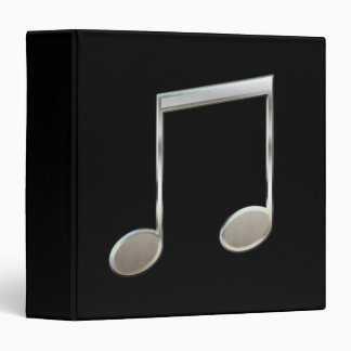 Shiny Silver Music Notation Beamed Whole Notes 3 Ring Binder