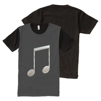 Shiny Silver Music Notation Beamed Whole Notes All-Over-Print Shirt