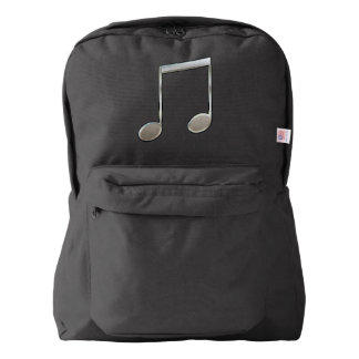 Shiny Silver Music Notation Beamed Whole Notes American Apparel™ Backpack