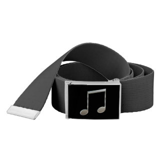 Shiny Silver Music Notation Beamed Whole Notes Belt