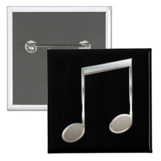 Shiny Silver Music Notation Beamed Whole Notes Button