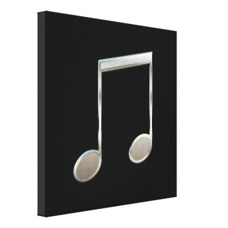 Shiny Silver Music Notation Beamed Whole Notes Canvas Print