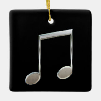 Shiny Silver Music Notation Beamed Whole Notes Ceramic Ornament