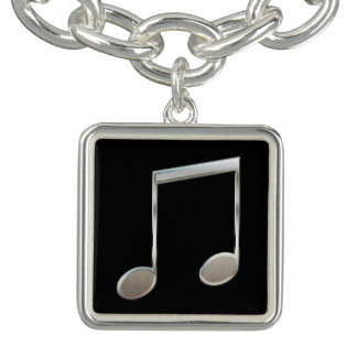 Shiny Silver Music Notation Beamed Whole Notes Charm Bracelets