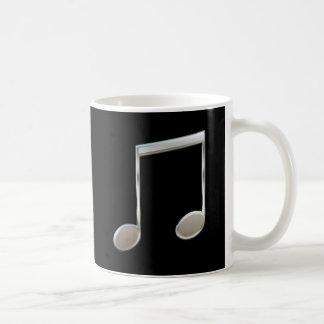 Shiny Silver Music Notation Beamed Whole Notes Coffee Mug