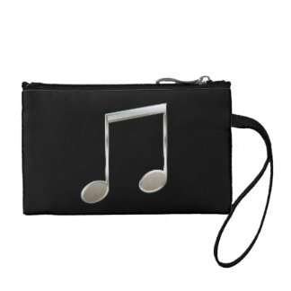 Shiny Silver Music Notation Beamed Whole Notes Coin Purse