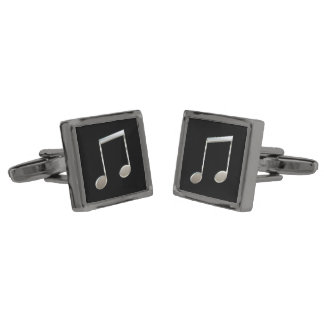 Shiny Silver Music Notation Beamed Whole Notes Cufflinks