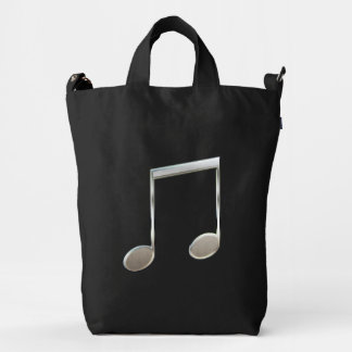 Shiny Silver Music Notation Beamed Whole Notes Duck Bag
