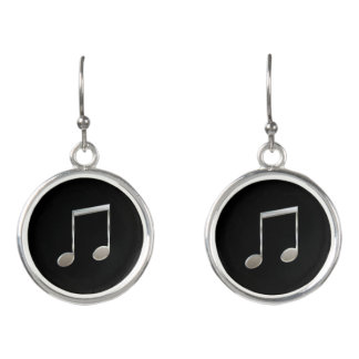 Shiny Silver Music Notation Beamed Whole Notes Earrings
