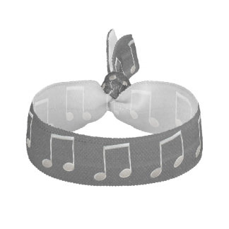 Shiny Silver Music Notation Beamed Whole Notes Elastic Hair Tie