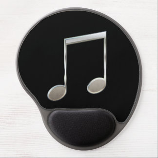 Shiny Silver Music Notation Beamed Whole Notes Gel Mouse Pad
