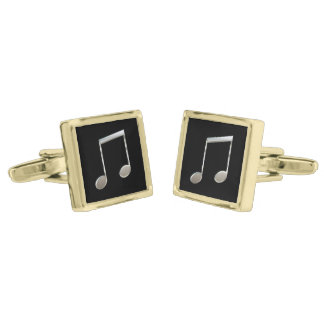 Shiny Silver Music Notation Beamed Whole Notes Gold Cufflinks