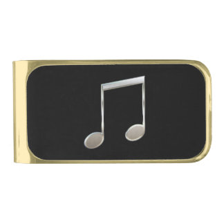 Shiny Silver Music Notation Beamed Whole Notes Gold Finish Money Clip