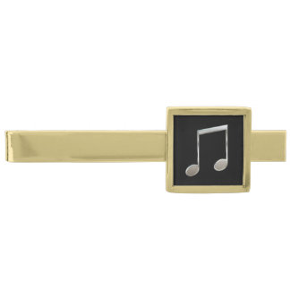 Shiny Silver Music Notation Beamed Whole Notes Gold Finish Tie Bar
