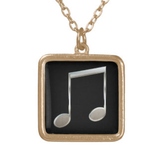 Shiny Silver Music Notation Beamed Whole Notes Gold Plated Necklace