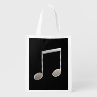 Shiny Silver Music Notation Beamed Whole Notes Grocery Bag