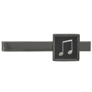 Shiny Silver Music Notation Beamed Whole Notes Gunmetal Finish Tie Bar