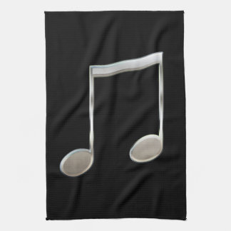 Shiny Silver Music Notation Beamed Whole Notes Hand Towel