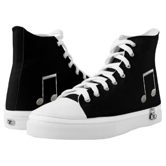 Shiny Silver Music Notation Beamed Whole Notes High-Top Sneakers