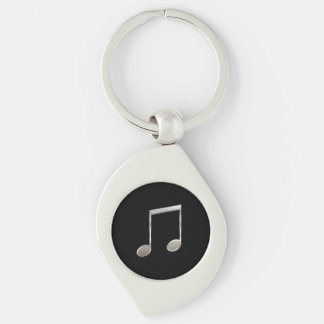Shiny Silver Music Notation Beamed Whole Notes Keychain