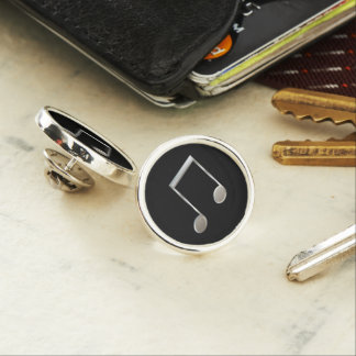 Shiny Silver Music Notation Beamed Whole Notes Lapel Pin