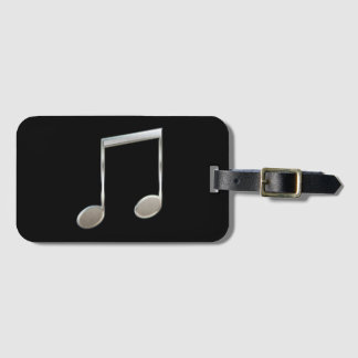 Shiny Silver Music Notation Beamed Whole Notes Luggage Tag