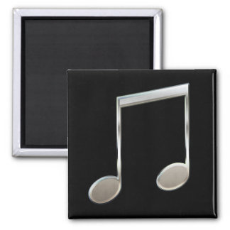 Shiny Silver Music Notation Beamed Whole Notes Magnet