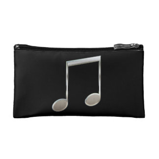 Shiny Silver Music Notation Beamed Whole Notes Makeup Bag