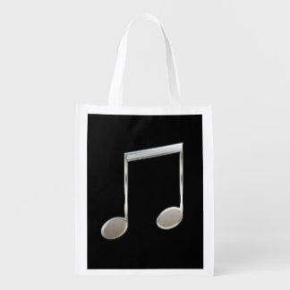 Shiny Silver Music Notation Beamed Whole Notes Market Totes