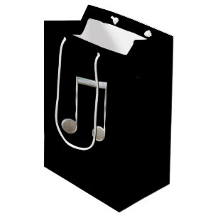 Shiny Silver Music Notation Beamed Whole Notes Medium Gift Bag