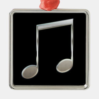 Shiny Silver Music Notation Beamed Whole Notes Metal Ornament