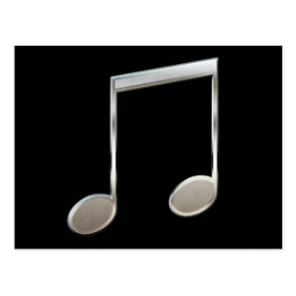 Shiny Silver Music Notation Beamed Whole Notes Postcard