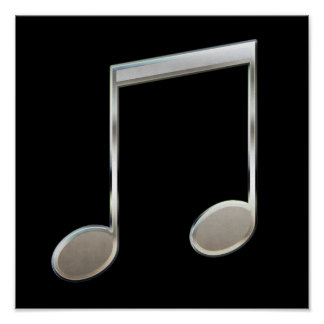 Shiny Silver Music Notation Beamed Whole Notes Poster