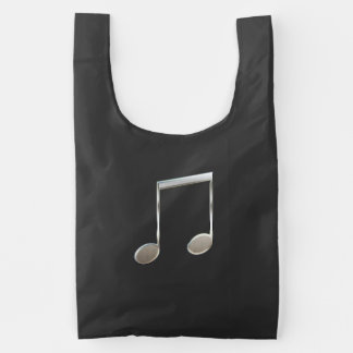 Shiny Silver Music Notation Beamed Whole Notes Reusable Bag