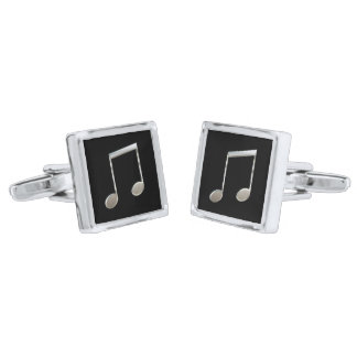 Shiny Silver Music Notation Beamed Whole Notes Silver Cufflinks