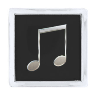 Shiny Silver Music Notation Beamed Whole Notes Silver Finish Lapel Pin