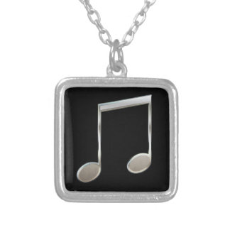Shiny Silver Music Notation Beamed Whole Notes Silver Plated Necklace
