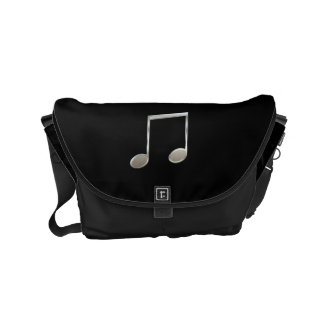 Shiny Silver Music Notation Beamed Whole Notes Small Messenger Bag