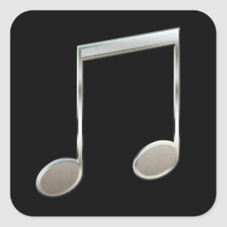Shiny Silver Music Notation Beamed Whole Notes Square Sticker