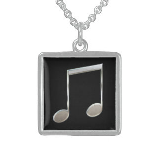 Shiny Silver Music Notation Beamed Whole Notes Sterling Silver Necklace