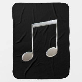 Shiny Silver Music Notation Beamed Whole Notes Swaddle Blanket