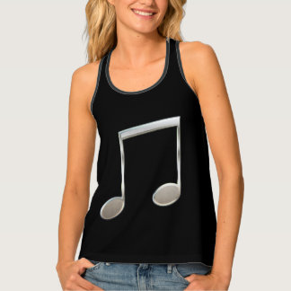 Shiny Silver Music Notation Beamed Whole Notes Tank Top