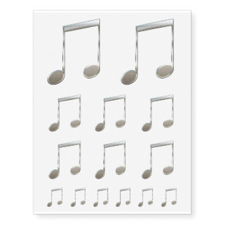 Shiny Silver Music Notation Beamed Whole Notes Temporary Tattoos