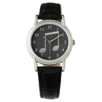 Shiny Silver Music Notation Beamed Whole Notes Watch