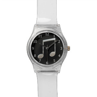 Shiny Silver Music Notation Beamed Whole Notes Wrist Watch