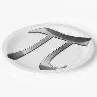 Shiny Silver Pi Symbol 9 Inch Paper Plate