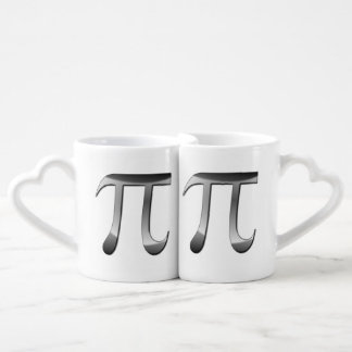Shiny Silver Pi Symbol Coffee Mug Set