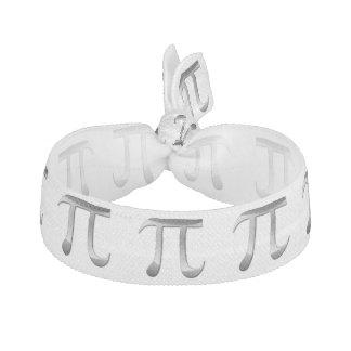 Shiny Silver Pi Symbol Ribbon Hair Ties